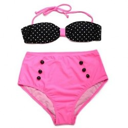 I-Glam Women's Polka Dot + Pink Bikini Swimwear Nz with Bandeau Top and High-waist Bottom