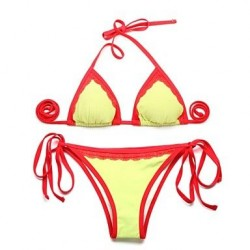 I-Glam Women's Greenish Yellow + Double Red Lace Trim Triangle Top with Classic Cut Bottom Bikini Swimwear Nz
