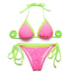 I Glam Womens Pink + Green Lace Triangle Top With Classic Cut Bottom Bikini Swimwear Nz