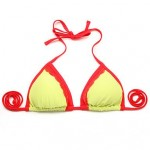 I-Glam Women's Greenish Yellow + Red Lace Triangle Top with Classic Cut Bottom Bikini Swimwear Nz