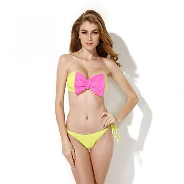 Nzswimwear 2019 New Sexy Greenish Yellow Bandeau Top Bikini Swimwear Nz with A Playful Bow at the Center Front in Low Price