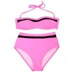 The pink gauze spot bikini sexy tall waist fission bikini manufacturer in Europe and AmericaA bathing suit
