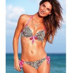 Women's Push-up/Padded Bras/Underwire Bra High Rise/Floral/Animal Halter Bikinis (Nylon/Spandex)