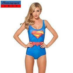 Nzswimwear®Women's Sexy Elasticated Swimwear Nz Superman Suit Printed Bodycon Jumpsuit Hot Bikini Top One Piece