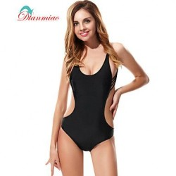 Sexy One Piece Swimwear Nz Straps Back String Women's Swimsuit Nz Padded Black Padded BK-754