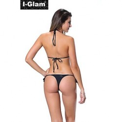 I-Glam Women's Bikini Lingerie Thong String Brazilian Swimwear Nz Tiny Micro Black Bottom Sheer Top Beach Wear Black