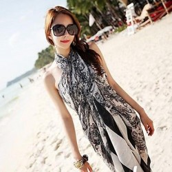 Women's Fashion Black Print Chiffon Scarf Sarong Swimwear Nz Swimsuit Nz Bikini Beach Cover-up