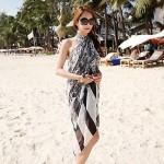 Women's Fashion Black Print Chiffon Scarf Sarong Swimwear Nz Swimsuit Nz Bikini Beach Cover-up