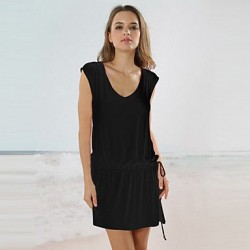 2019 Fashion Dress Summer Women Clothing Round Neck Black Short Sleeve V Back Short Dress