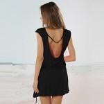 2017 Fashion Dress Summer Women Clothing Round Neck Black Short Sleeve V Back Short Dress