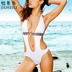 Nzswimwear Womens Push Up Solid Halter One Pieces Cotton Blends