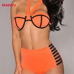 MAKEYU Women's Gathered Sexy Bikini Swimwear Nz