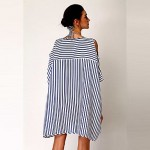 New design new recommend fashion summer dress 2019 stripes figure print beach clothes batwing sleeve beach wear dress