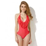 Nzswimwear Women Red One-piece with Fringe Side Cut-outs Bikinis Swimwear Nz