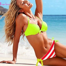 Women's Push-up/Underwire Bra/Padless Bra Color Block/Floral/Bandage Halter Bikinis (Polyester/Spandex)