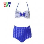 Nzswimwear Women's Sexy Halter High Waist Dot Bikinis with Bowknot