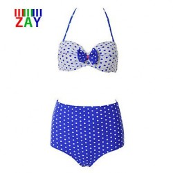 Nzswimwear Women's Sexy Halter High Waist Dot Bikinis with Bowknot