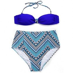 I-Glam Women's Royal Blue+ Ethnic Bikini Swimwear Nz with Bandeau Top and High-waist Bottom