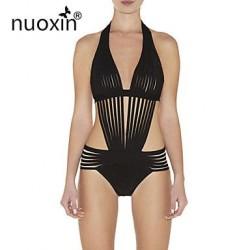 Womens Solid Bandage Geometric Straped Bikinis Nylon Others Viscose Hollow Out Sexy