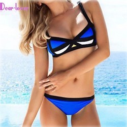 Women's Push-up/Wireless/Padded Bras Color Block/Bandage Halter Bikinis (Polyester/Spandex)