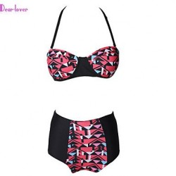 Women's Push-up/Underwire Bra/Padless Bra High Rise/Color Block/Bandage/Geometric Halter Bikinis (Polyester/Spandex)