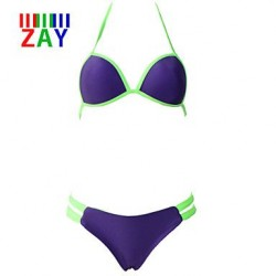 Nzswimwear Women's Sweet Sexy Color Block Bikinis with Bowknot