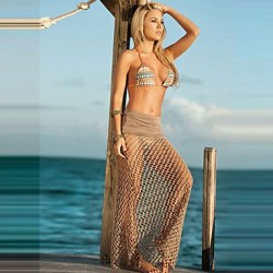 Brown fishnet beach wear 2017 brand high quality mesh swim dress solid simple fashion new arrival swimsuit cover