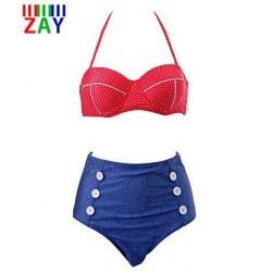 Nzswimwear Women's Sexy High Waist Halter Push Up Bikinis Set