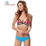 Sexy Swimwear Nz Bikini Neoprene Women's Swimsuit Nz Straps Back Buckle Mesh Splice Color BK-25