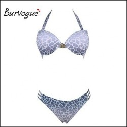 Burvogue Women's Sexy Push Up Silver Grey Bikinis Set