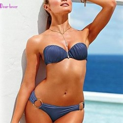 Women's Push-up/Underwire Bra/Padless Bra Solid/Bandage Bandeau Bikinis (Polyester/Spandex)