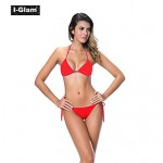 I-Glam Women's Bikini Lingerie Thong String Brazilian Swimwear Nz Tiny Micro Bottom Sheer Top Beach Wear Red