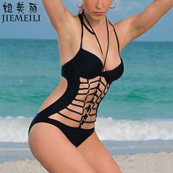 Nzswimwear Womens Push Up Solid Bandage Halter One Pieces Cotton Blends