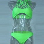 Nzswimwear Women's Push-up Solid/Bandage Halter Bikinis (Cotton Blends)