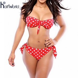 Women's Wireless/Padded Bras Floral/Dot Halter Bikinis (Others)