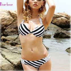 Women's Push-up/Padded Bras/Underwire Bra Floral/Bandage Halter Bikinis (Polyester/Spandex)
