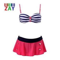 Nzswimwear Women's Sexy Naval Stripe Push-up Halter Bikinis Swimming Set