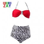 Nzswimwear Women's Fashion Vintage High Rise Push-up Animal Halter Bikinis