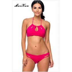 2019Women's Push-up/Padded Bras High Rise/Color Block/Solid Halter Bikinis (Others)DLM-Bikini0014