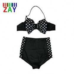 Nzswimwear Women's Sexy Push-up High Rise/Dot Halter Bikinis with Bowknot