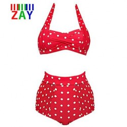 Nzswimwear Women's New Fashion Vintage Halter High Waist Dot Bikinis