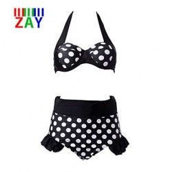 Nzswimwear Women's Vintage Straped High Waist Dot Bikinis Sets