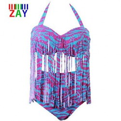 Nzswimwear Women's Multicolor Striola High Waist Tassels Plus Size Bikinis Swimsuit Nz