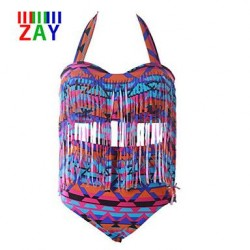 Nzswimwear Women's Multicolor High Waist Tassels Plus Size Bikinis Swimsuit Nz