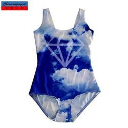 Nzswimwear®Women's Swimwear Nz Fashion White Cloud Print Sexy Bodycon One-piece Swimsuit Nz Casual Siamesed Underwear