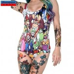 Nzswimwear®Women's Swimwear Nz Fashion Cartoon Mario Print Sexy Bodycon One-piece Swimsuit Nz Casual Siamesed Underwear