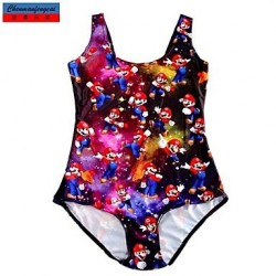 Nzswimwear®Women's Swimwear Nz Fashion Cartoon Mario Game Print Sexy Bodycon One-piece Swimsuit Nz Casual Siamesed Underwear