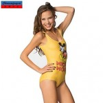 Nzswimwear®Women's Swimwear Nz Fashion Yellow Micky Print Sexy Bodycon One-piece Swimsuit Nz Casual Siamesed Underwear