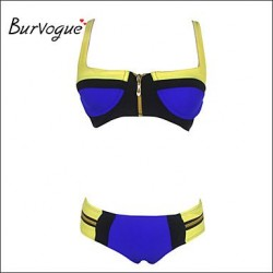 Burvogue Women's Zip Bandage Bikini Set Push-up Padded Bra Swimsuit Nz Swimwear Nz