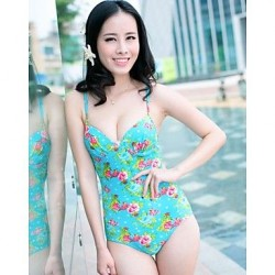 Women's Sexy Summer Beach Push Up Green Floral One Pieces Swimwear Nz